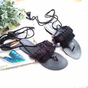 Zara • black fringe ankle wrap boho sandals